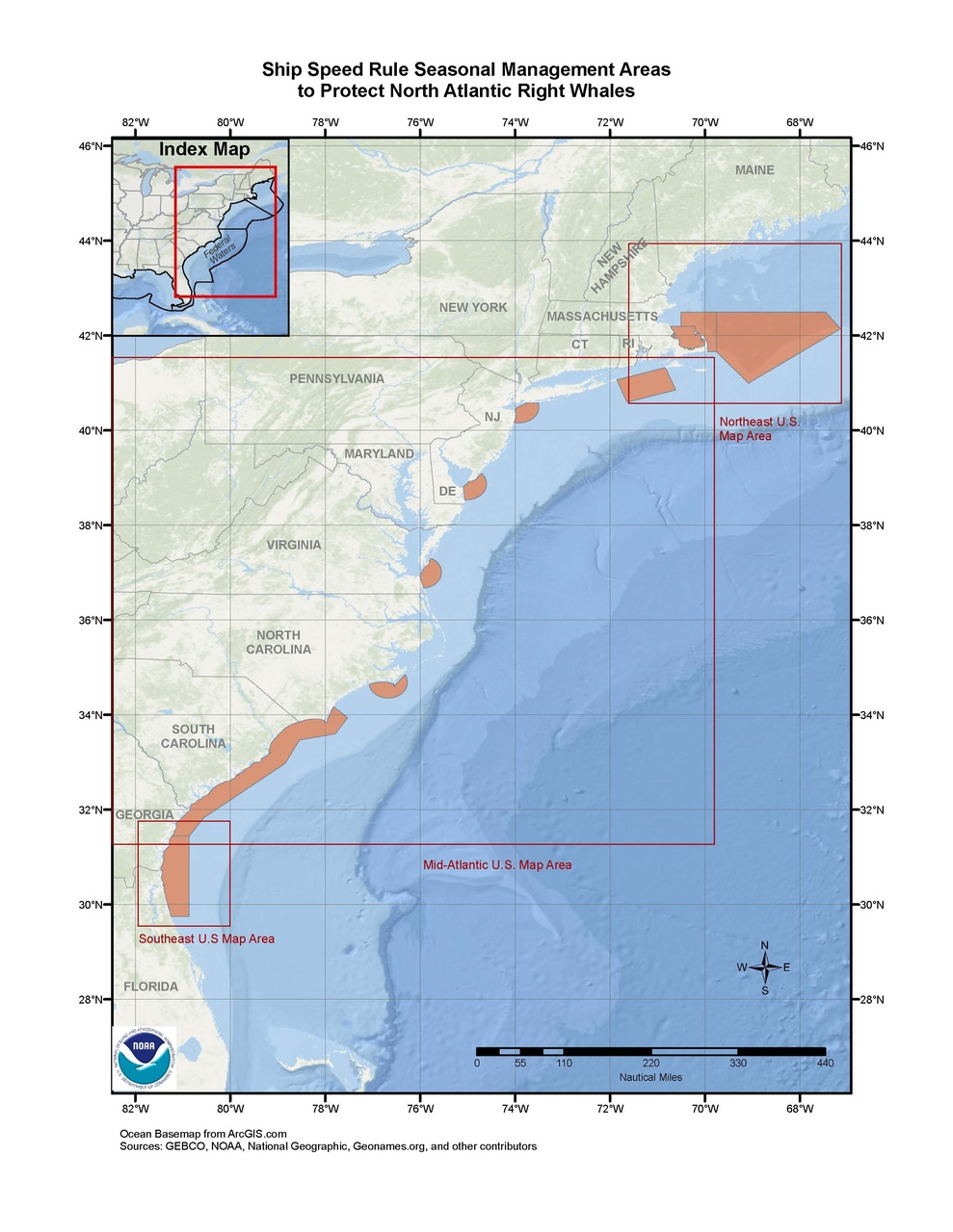 This is a map showing North Atlantic right whale seasonal management areas in the Greater Atlantic and and Southeast Regions.