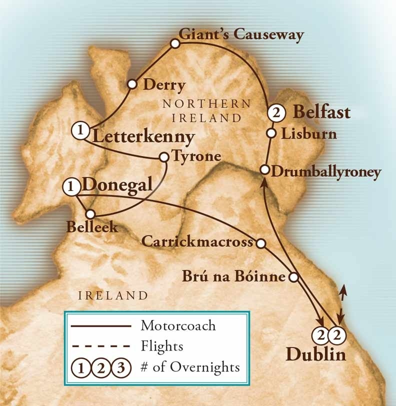 Tour Map for Exploring the Arts & Literature of Ireland