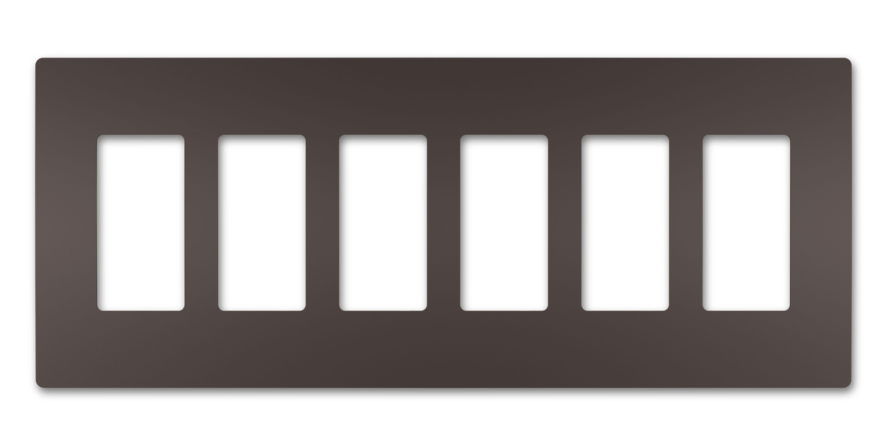 Six-Gang Screwless Wall Plate, Dark Bronze