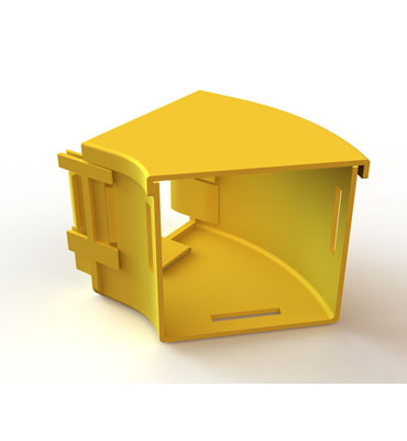 "Mighty Mo Fiber Raceway, Horizontal Elbow with cover, 45deg, 4"" x 4"", yellow - OR-MMFHEC454X4-Y"