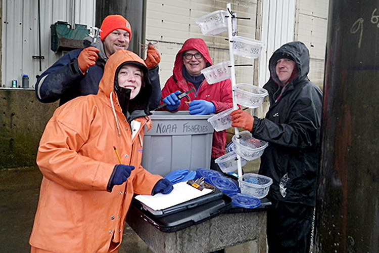 Project Setup Crew: Madison Shipley (NRC/BSFRF), Jeff Cox (BSFRF), Dan Urban (NOAA Fisheries), Brian Crooks (BSFRF).