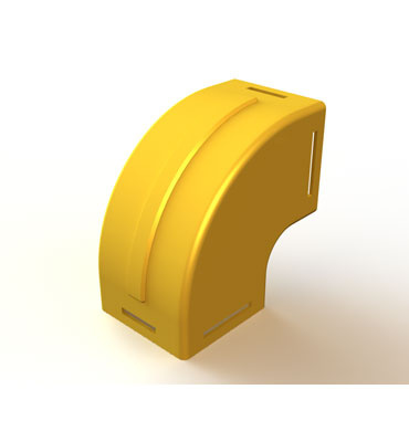 "Mighty Mo Fiber Raceway, Vertical Elbow enclosed, 90deg up/down, 4"" x 4"", yellow - OR-MMFVEE90UD4X4-Y"