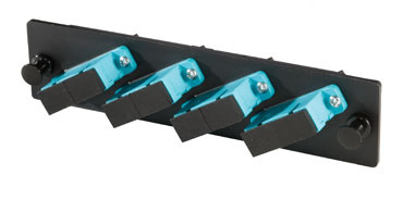 4-SC duplex (8 fibers) multimode aqua adapters with ceramic alignment sleeves, OR-OFP-SCD08LC