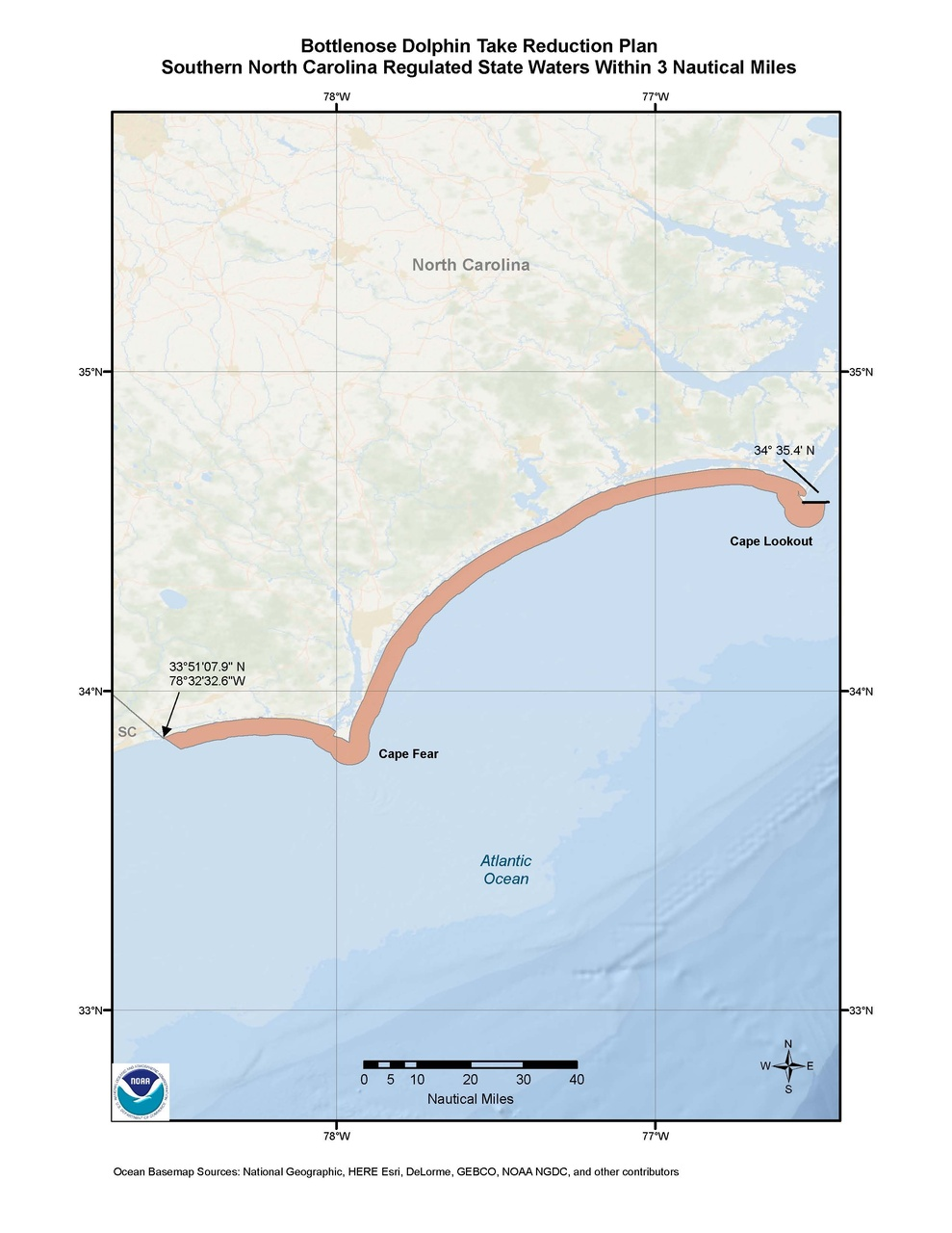 This is a map of the Bottlenose Dolphin Take Reduction Plan for southern North Carolina.