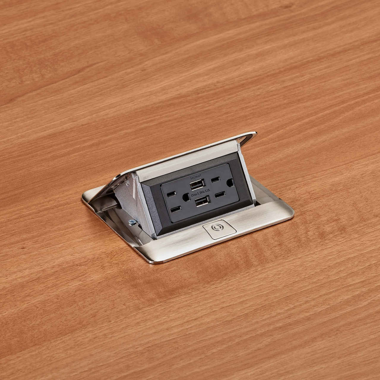 deQuorum Flip-Up Table Box 1-Gang 15A recep 3.1A USB, stainless steel finish-side view, DQFP15UST