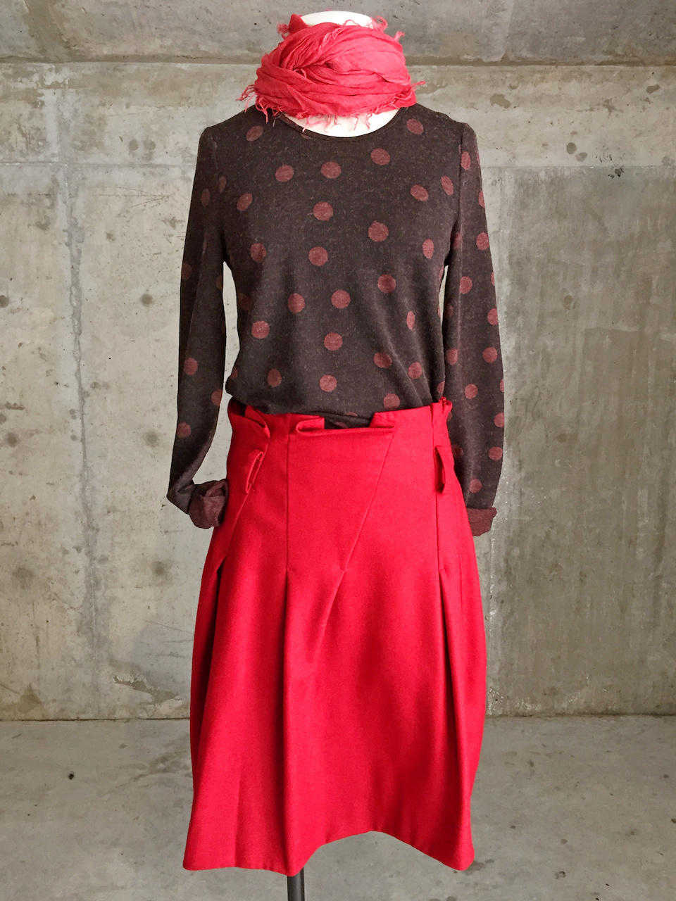 Lilith polka dot shirt red skirt StyleBlueprint Atlanta