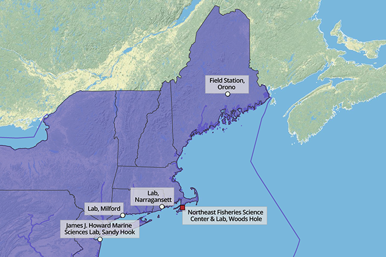 Map of New England/Mid-Atlantic region with labs labeled