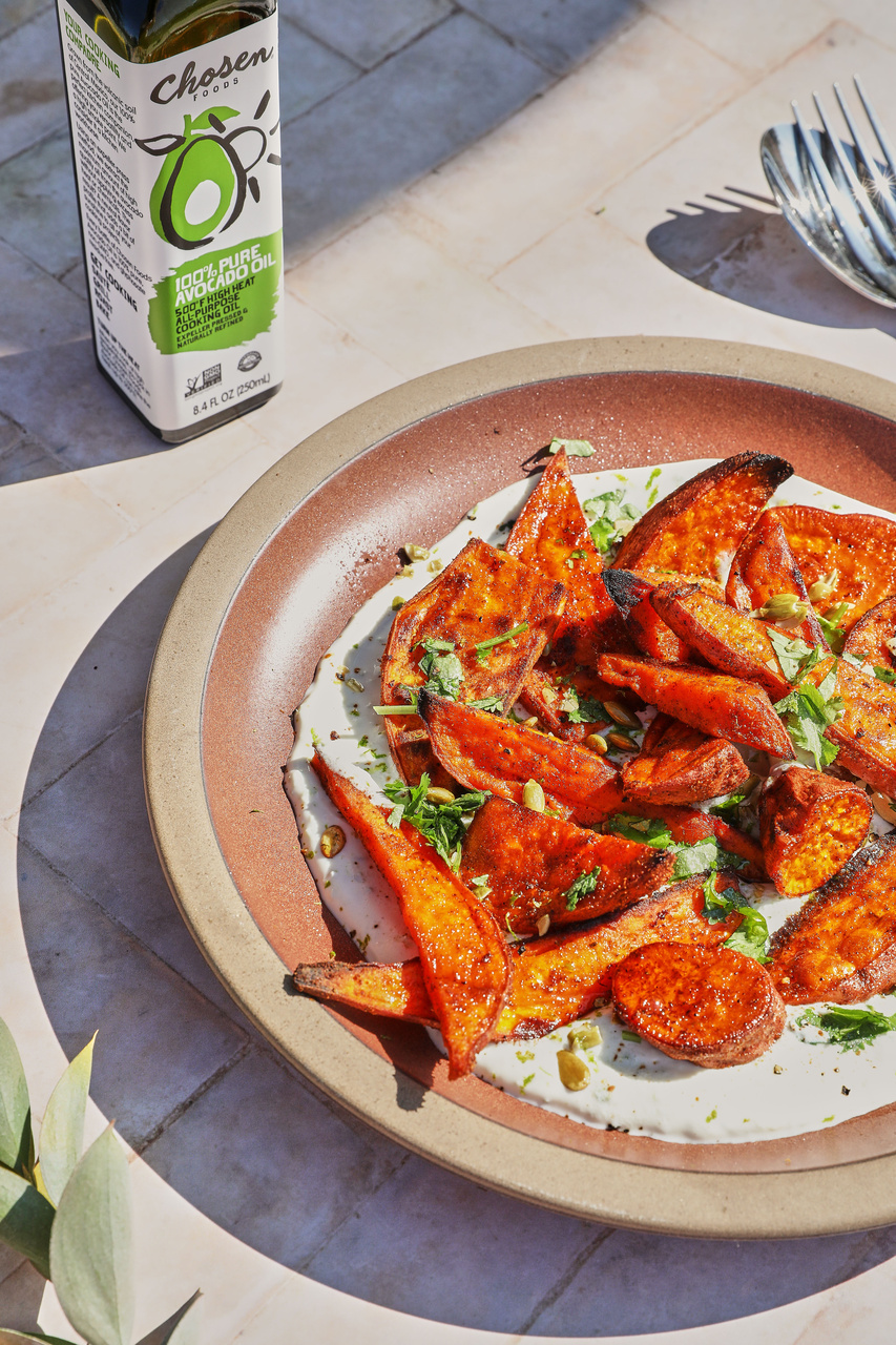 Roasted Sweet Potatoes on a Cumin-Chile Yogurt Sauce