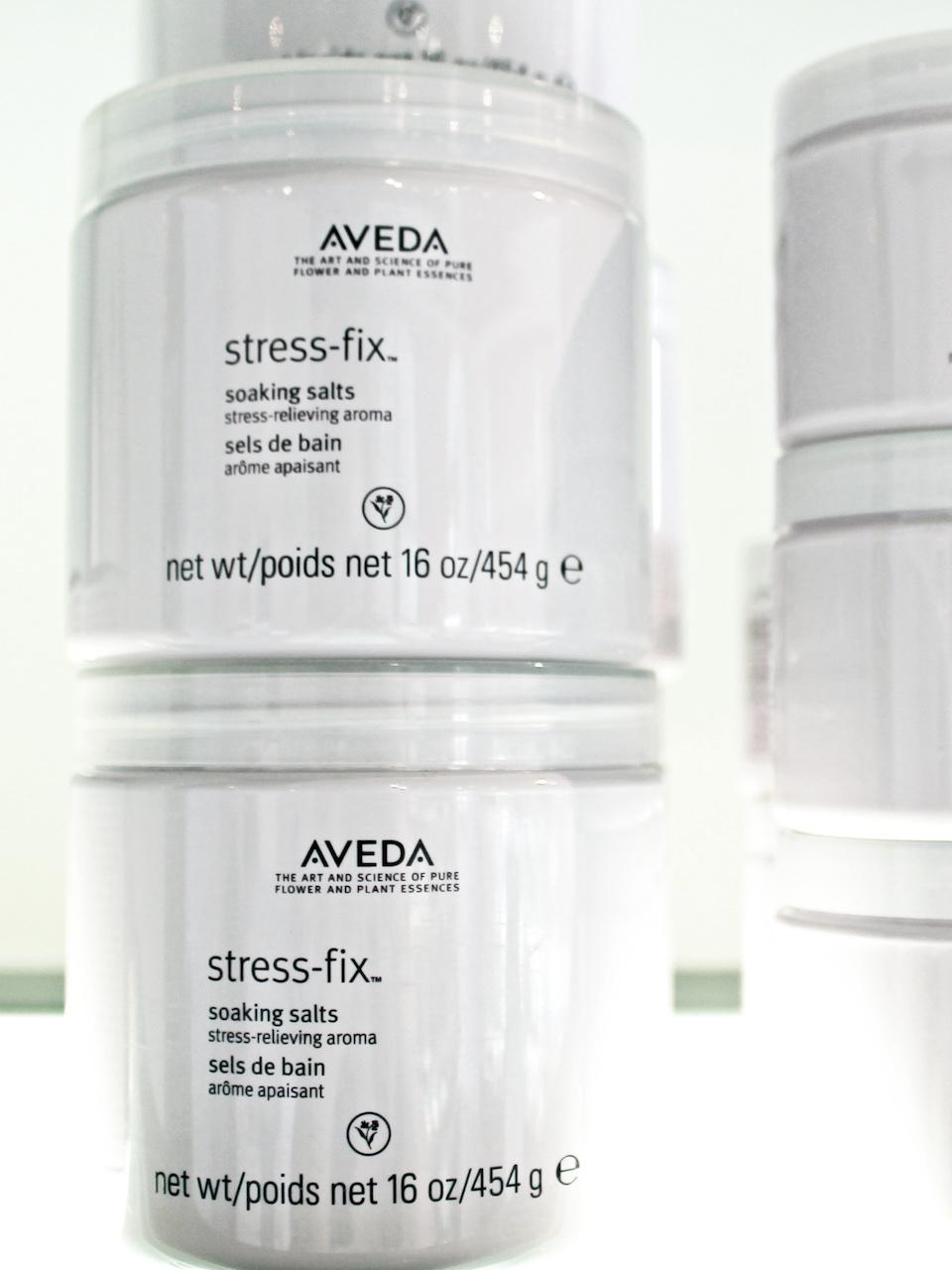 Aveda's Stress-Fix soaking salts, $42, at Tonya Jones SalonSpa