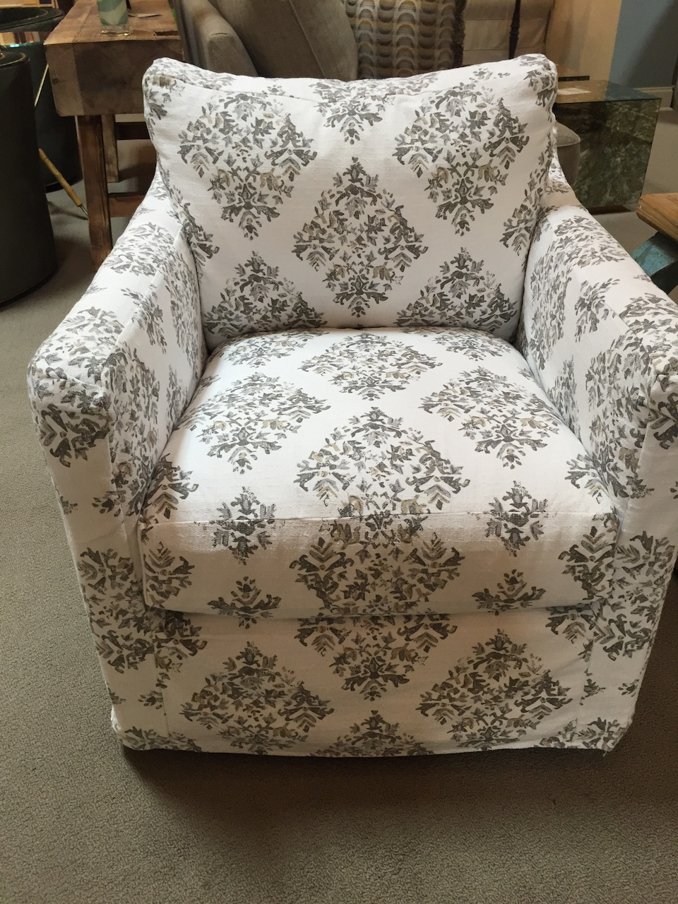 Swivel seating, $1135 as shown with other fabric available, at Decadent Avenue.