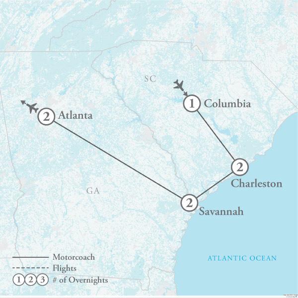 Tour Map for Charleston & Savannah: Coastal Charms