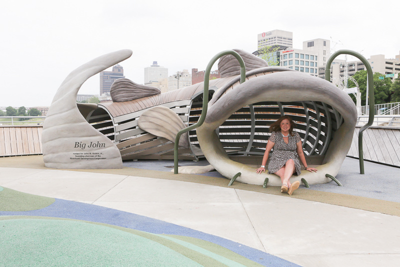 Katie and Big John, the giant catfish play structure at Beale Street Landing.