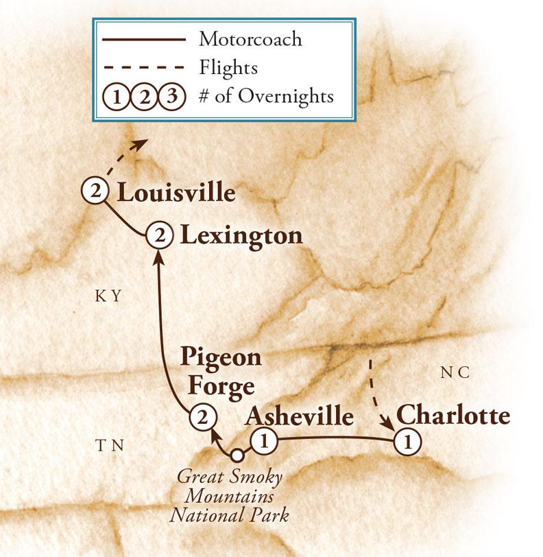 Tour Map for Kentucky & the Smokies