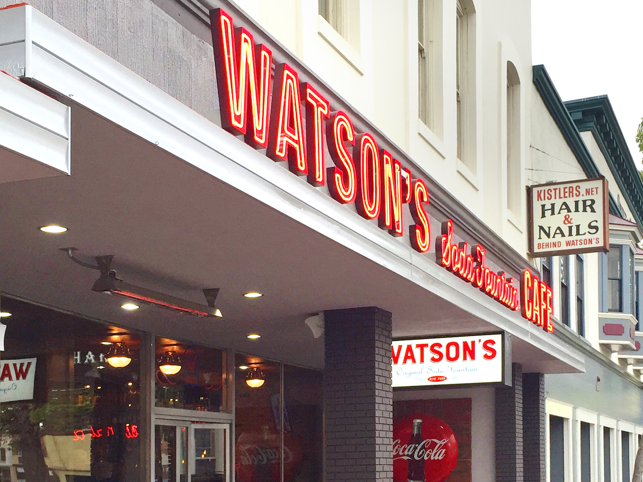 Watson's has the old-timey charm of a vintage pharmacy setting for the main restaurant.....