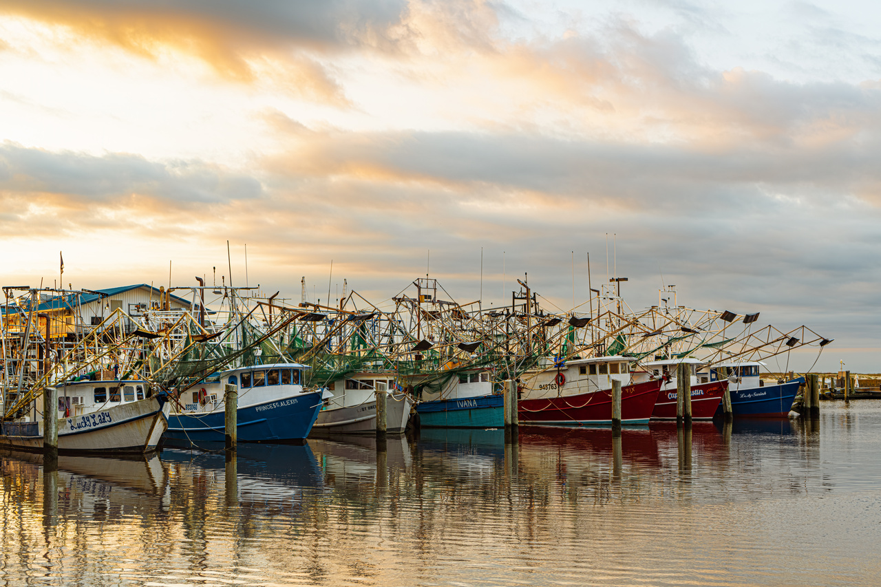 Early morning photograph of shrimp boats in Biloxi harbor. Biloxi, Mississippi, USA, May 15, 2019.