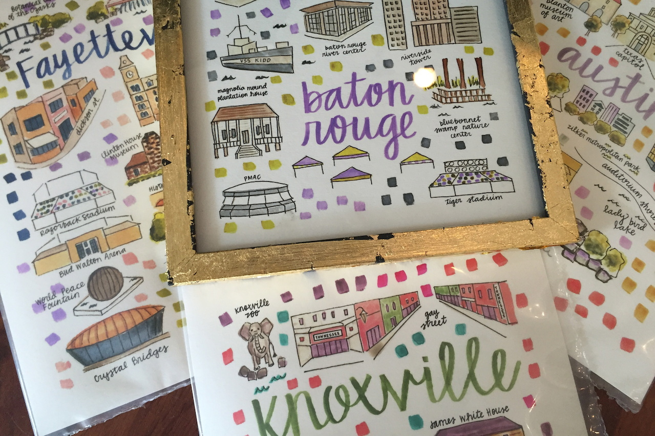 Colorful college town map prints, $28 at me & mrs. jones.