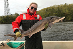 woman on boat holding Atlantic sturgeon