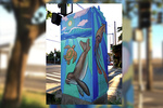 Street art on traffic signal boxes in Oahu, HI.