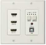 DL-3H1U-WP-W - DigitaLinx Auto-Switching Wallplate with 3 HDMI Inputs, USB2.0, & Audio Extension over HDBaseT