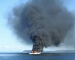 Vessel on fire in Puget Sound