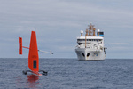 Sail drone and NOAA Ship Oscar Dyson
