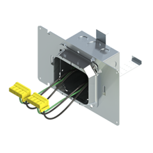 4'' Square Box with 2-Gang 5/8'' Plaster Ring and 2 Grounded PlugTail Switch Connectors with protective mud cover - Box of 10 [EF000059]