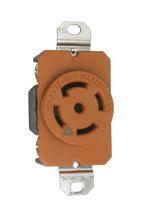 30 Amp NEMA L2230 Single Receptacle, Orange, Isolated Ground