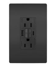 radiant 15A Tamper Resistant Outdoor Self Test GFCI USB Type AC Outlet, Black