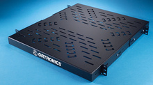 Four point equipment shelf for Mighty Mo racks and cabinets - 19 x 1.75 in x 20 in - black - works with all depth Might Mo rack channels and Mighty Mo cabinets 24 in and deeper
