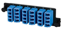 High Density 6-LC Quad (24 fibers) single mode, blue adapters with ceramic alignment sleeves