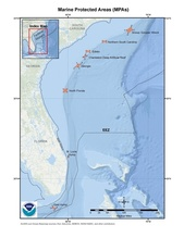 This is a map of the marine protected areas for the snapper-grouper fishery in the South Atlantic Region.