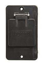 """1-Gang Flip Lid 1.39"""""""" Diameter Single Receptacle Cover Plate, Black"""