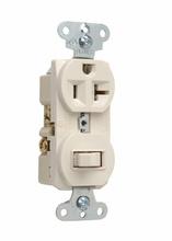 20A, 120/125V Combination Single-Pole Switch & Single Receptacle, Light Almond
