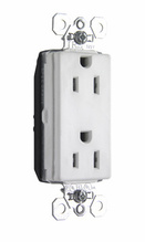 PlugTail® Tamper-Resistant Decorator Spec Grade Receptacle, 15A, 125V, White