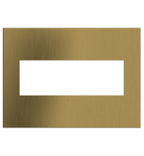 adorne® Brushed Satin Brass Three-Gang Screwless Wall Plate