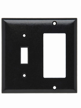 Combination Openings 1 Toggle Switch & 1 Decorator, Two Gang, Black