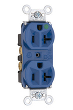 Heavy-Duty Hospital Grade Compact Design Receptacles, Back & Side Wire, 20A, 125V, Blue