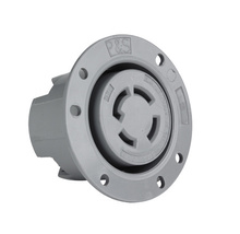 30 Amp NEMA L2030 Flanged Outlet, Gray