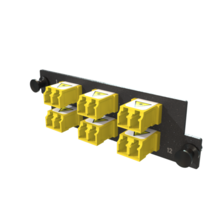 Infinium M4 HDFP Adapter Panel, 6 Keyed Front Non-Keyed Rear LC Duplex Adapters, 12 Fiber, Yellow