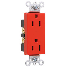 Heavy-Duty Decorator Spec Grade Receptacles, Back & Side Wire, 15A, 125V, Red