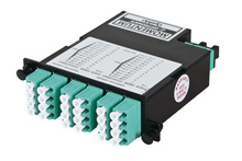 24-FIBER OM4+ M4 CASSETTE WITH 24 LC QUAD ADAPTERS TO 2 MPO M- TIER 3- METHOD B- NEAR END