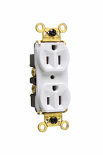 Weather-Resistant Heavy-Duty Spec Grade Receptacles, Back & Side Wire, 15A, 125V, White