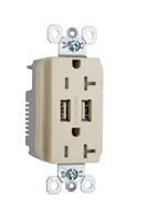 Fed Spec Grade USB Charger w/ Tamper-Resistant 20A Duplex Receptacles, Ivory