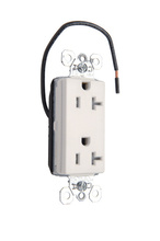 PlugTail® Tamper-Resistant Split Circuit Decorator Spec Grade Receptacle, 20A, 125V, White