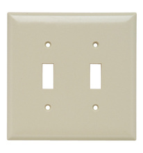 Toggle Switch Openings, Two Gang, Ivory