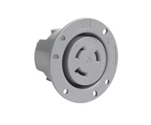 30 Amp NEMA L730 Flanged Outlet, Gray