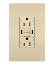 radiant 15A Tamper Resistant Outdoor Self Test GFCI USB Type CC Outlet, Ivory