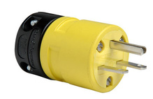 15A, 250V Rubber Dust-Tight Plug, Yellow