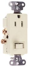 15A, 120/125V Decorator Combination Single-Pole Switch & Single Receptacle, Light Almond