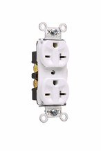 Heavy-Duty Spec Grade Receptacles, Back & Side Wire, 20A, 250V, Ivory